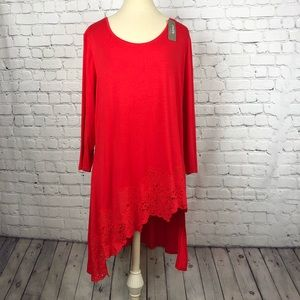 Red knit tunic by Chicos, size large